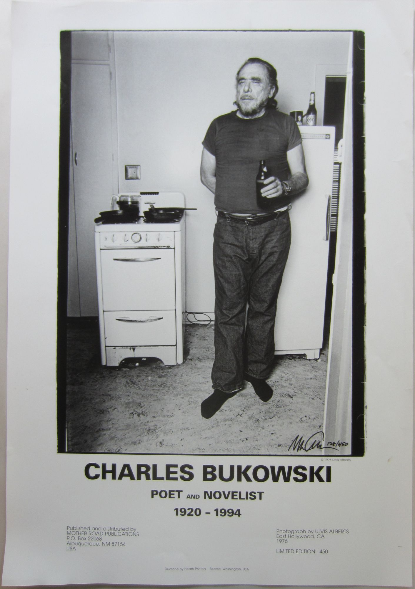 poster printing a photo of bukowski in his east hollywood apartment