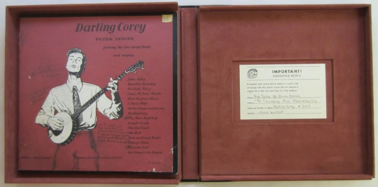 Bob Dylan's personal annotated and signed copy of Pete Seeger's Darling Corey LP TOGETHER WITH the postcard from this record filled out in Bob Dylan's hand, ca. 1962. Bob DYLAN.
