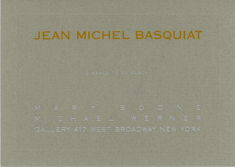 Invitation card for Basquiat's 1985 show at the Boone/Werner Gallery in NYC. Jean Michel BASQUIAT.