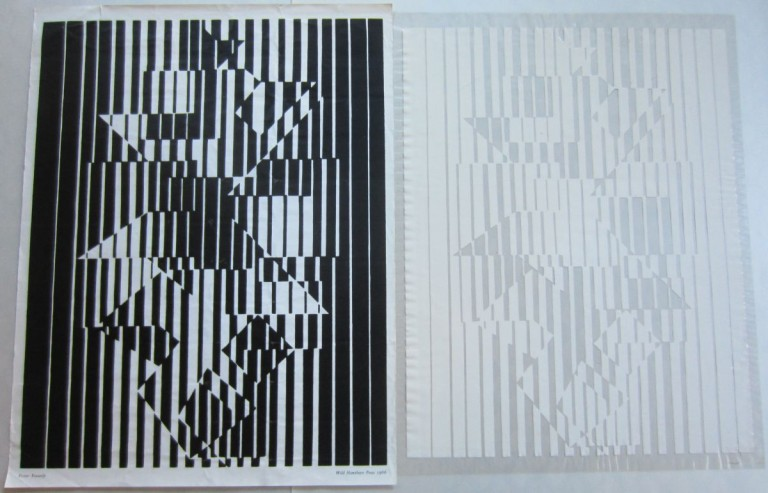 Untitled Op-Art print. Victor VASARELY.
