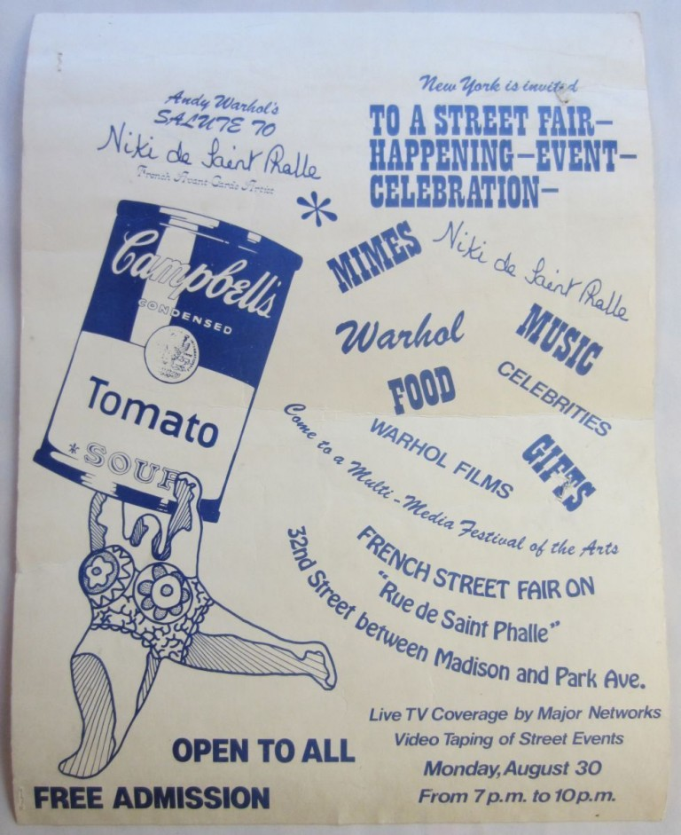 Poster announcing: ''Andy Warhol's Salute to Niki de Saint Phalle...a Street Fair Happening Event Celebration.''. Andy WARHOL, Niki de SAINT PHALLE.