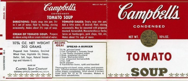 Campbell's ''Tomato Soup'' label invitation for Warhol's 1965 ICA retrospective. Andy WARHOL.