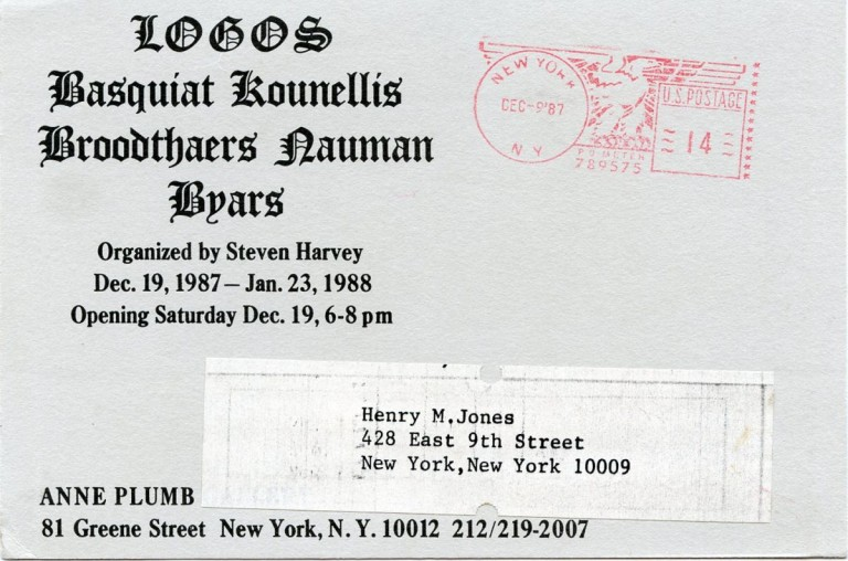 Announcement card for the 1987 ''Logos'' group show at the Anne Plumb Gallery in NYC. Jean-Michel BASQUIAT.