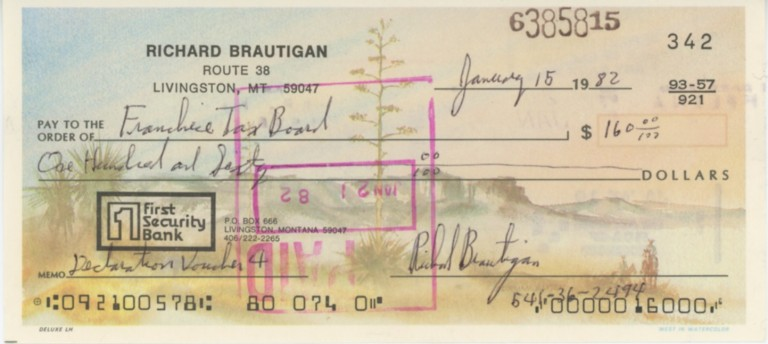 Personal check written and signed by Richard Brautigan. Richard BRAUTIGAN.