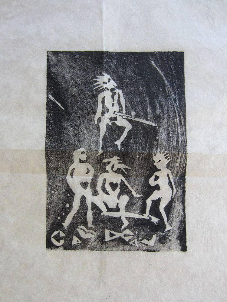 Original rice paper woodblock print of a humanoid creature with an opium pipe. Dana YOUNG.