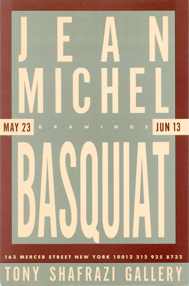 "Invitation card for Basquiat's 1987 ""Drawings"" show at the Tony Shafrazi Gallery in NYC. Jean Michel BASQUIAT."
