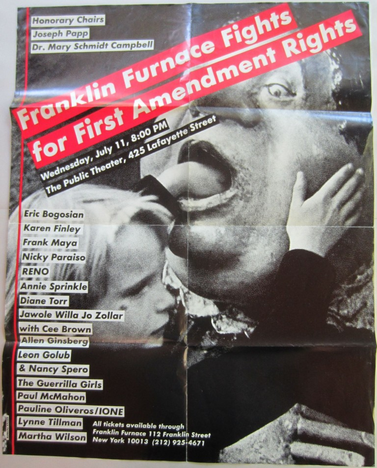 "Poster designed by Kruger for the 1990 event ""Franklin Furnace Fights for First Amendment Rights"" at The Public Theater in NYC. Barbara KRUGER."
