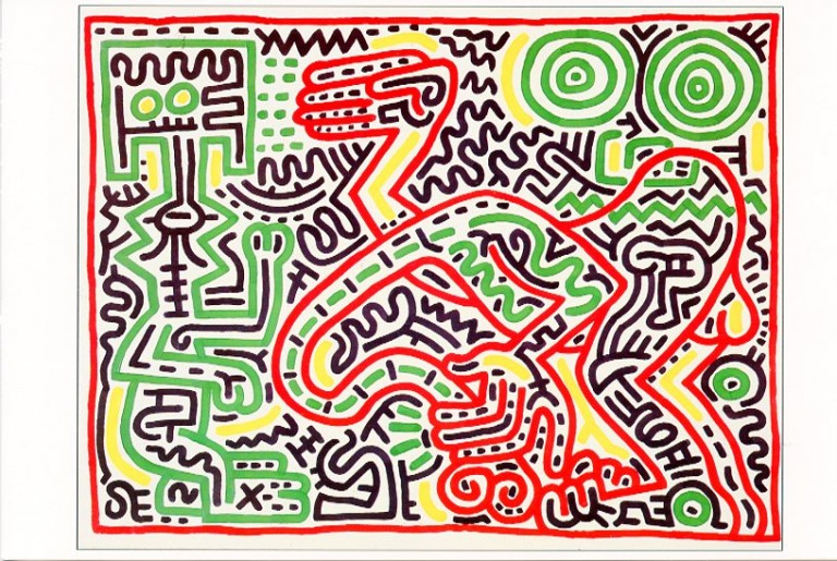 """""""Season's Greetings"""" card from the Tony Shafrazi Gallery, 1984 featuring a work by Keith Haring. Keith HARING."""