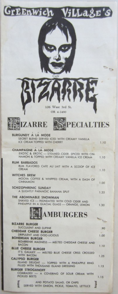 Menu from Cafe Bizarre in Greenwich Village. Rick ALLMAN.