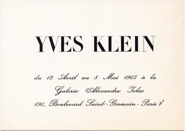 Invitation card for Klein's 1965 show at Galerie Alexandre Iolas in Paris. Yves KLEIN.