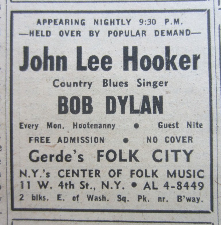 The Village Voice, April 13, 1961 featuring an ad for Bob Dylan's very first professional gig opening for John Lee Hooker at Gerde's Folk City in Greenwich Village. Bob DYLAN.