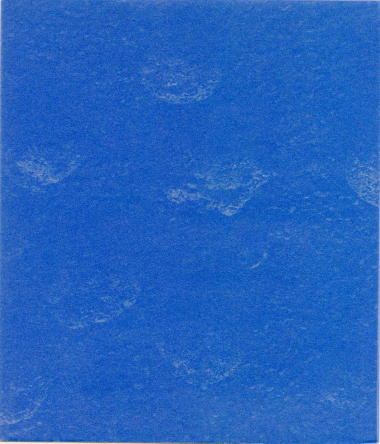 """Invitation card for Klein's 1989 """"Sponge Reliefs"""" show at the Gagosian Gallery in NYC. Yves KLEIN."""