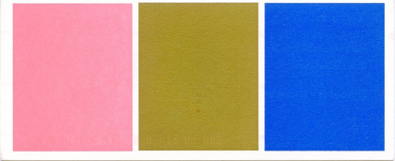 """Postcard invitation for Klein's 1997 """"Yves Klein The Complete Tables: International Klein Blue, Pink and Gold"""" show at the AD Gallery in NYC. Yves KLEIN."""