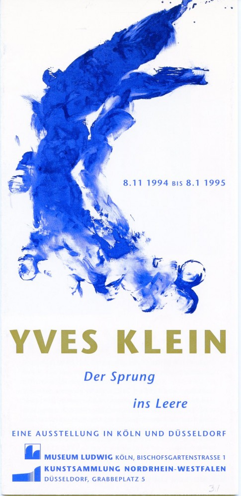 """Multi-folding sheet printed on both sides for Klein's 1995 """"Der Sprung ins Leere"""" show at the Museum Ludwig and the Kunstsammlung Nordrhein-Westfalen in Germany. Yves KLEIN."""