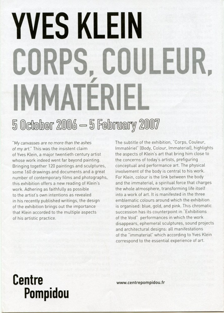 """Multi-folding sheet printed on both sides for Klein's 2007 """"Corps, Couleur, Immateriel"""" exhibition at Centre Pompidou in Paris. Yves KLEIN."""