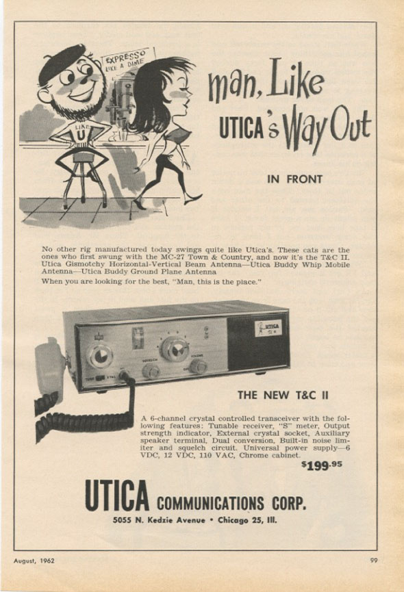 Advertisement for UTICA's transceiver featuring an illustration of a beatnik couple. BEATNIKS.