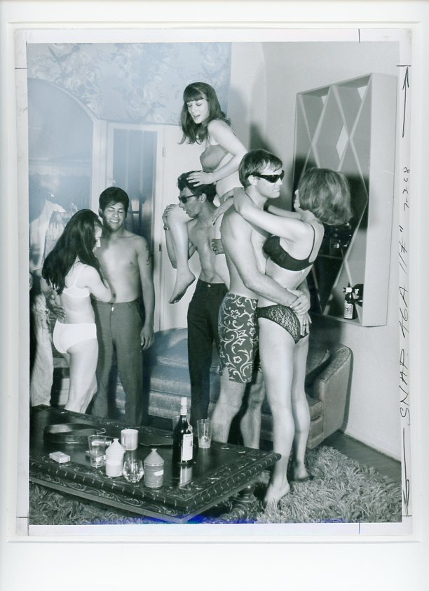 Original camera-ready photo collage of a staged beatnik party with scantily-clad revelers. BEATNIKS.