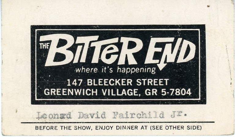 Dual business card from The Bitter End and The Tin Angel restaurant in Greenwich Village. Bob DYLAN, Patti, SMITH, Bruce SPRINGSTEEN.