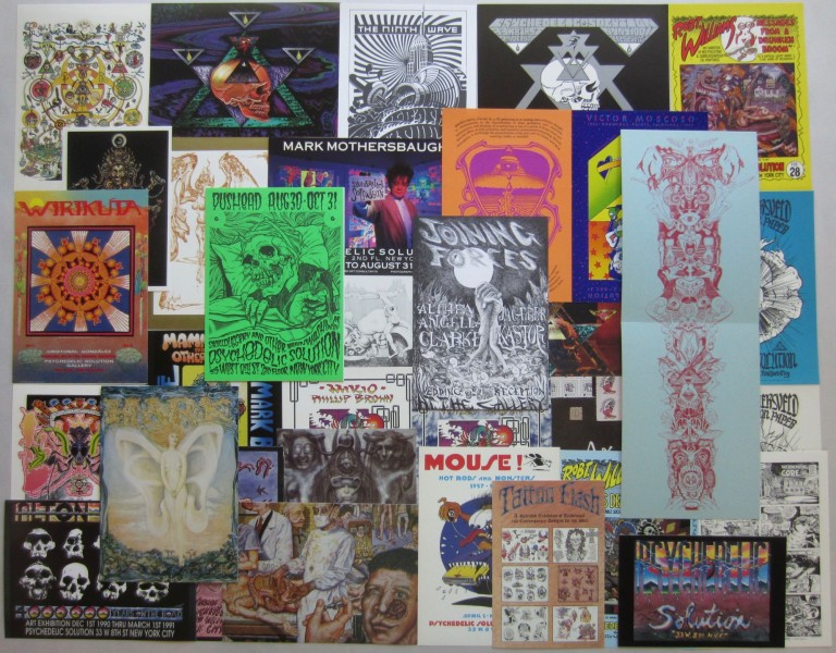 Psychedelic Solution Gallery exhibition announcement card set 1986-1995. Jacaeber KASTOR, Rick GRIFFIN, Joe, COLEMAN, H. R., GIGER, Robert WILLIAMS.