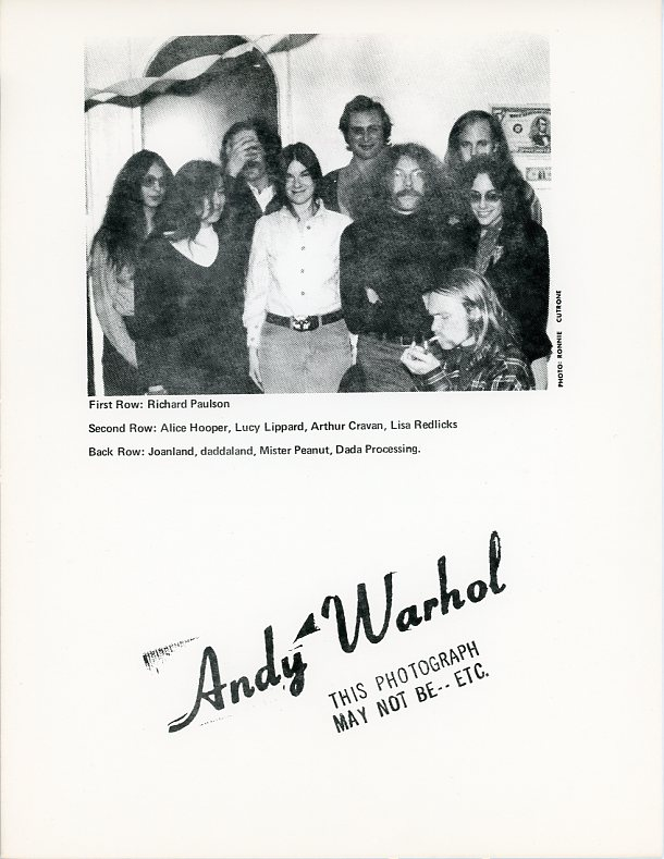 """Handbill reproducing a rubber stamp by Warhol """"Andy Warhol: This photo may not be---etc."""" Tim MANCUSI."""