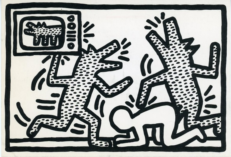 """Promotional card from Barbara Gladstone gallery announcing publication and opening reception for Haring's """"6 Lithographs"""" Keith HARING."""