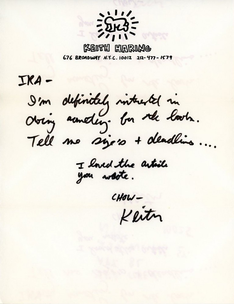 Autograph Letter Signed to poet/photographer Ira Cohen. Keith HARING.