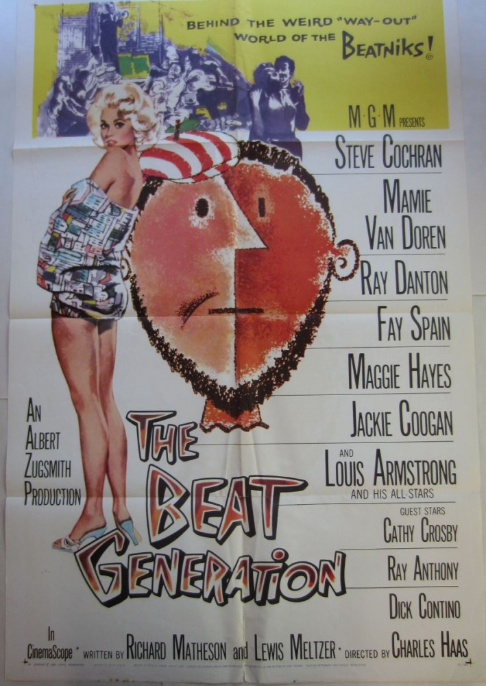 Full size (1-sheet) color poster for the 1959 Beat exploitation film, The Beat Generation starring Steve Cochran and Mamie Van Doren. Albert ZUGSMITH, Maime VAN DOREN.