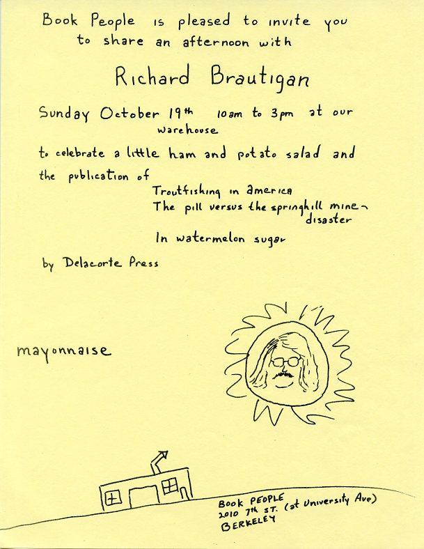 Handbill announcing the publication of Trout Fishing in America, The Pill versus the Springhill Mine Disaster and In Watermelon Sugar by Delacorte Press, 1969. Richard BRAUTIGAN.