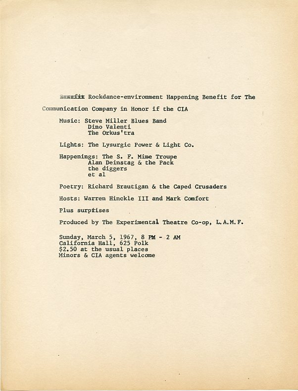 Handbill announcing a ''Rockdance-environment Happening Benefit for the Communication Company in Honor of the CIA.''. Richard BRAUTIGAN, Chester, ANDERSON, Emmett GROGAN.