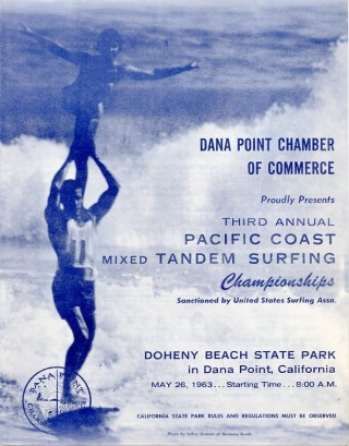 Entry form for the 1963 Third Annual Pacific Coast Mixed Tandem Surfing Championships. Bud BROWNE