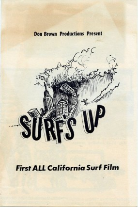 Program for Don Brown's 1961 surf film, Surf's Up. Don BROWN, Greg NOLL