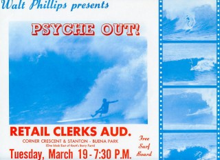 Poster for Walt Phillips 1962 surf film, Psyche Out! Walt PHILLIPS.