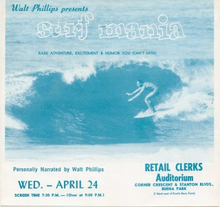 Flyer for Walt Phillips' 1960 surf film, Surf Mania. Walt PHILLIPS.