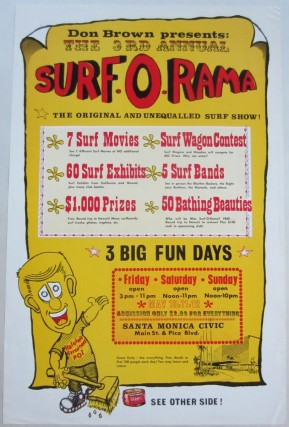 "Poster printed on both sides advertising Don Brown's 1962 ""3rd Annual Surf-O-Rama"" surf show at..."