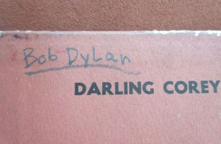 Bob Dylan's personal annotated and signed copy of Pete Seeger's Darling Corey LP TOGETHER WITH the postcard from this record filled out in Bob Dylan's hand, ca. 1962.