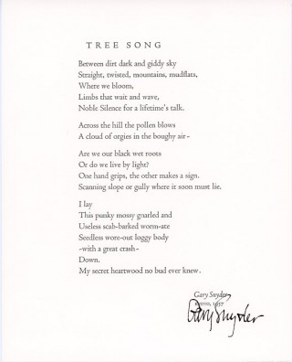 Tree Song. Gary SNYDER