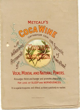"""Packet advertising ''Coca Wine and Sachet Powders"""" from Theodore Metcalf."""
