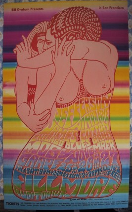Poster by Wes Wilson announcing The Jefferson Airplane at the Fillmore Auditorium, 1966. GRATEFUL...