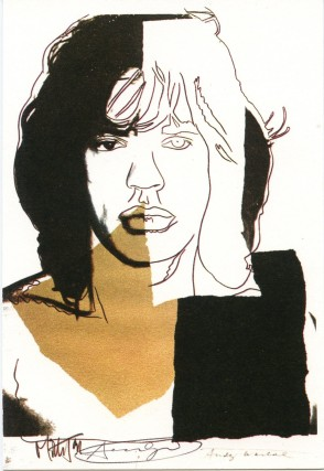 Lithographed postcard reproducing Warhol's portrait of Mick Jagger.