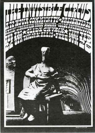 Small handbill designed by Victor Moscoso announcing The Invisible Circus. Chester ANDERSON, Richard, BRAUTIGAN, Emmett, GROGAN, Victor MOSCOSO.