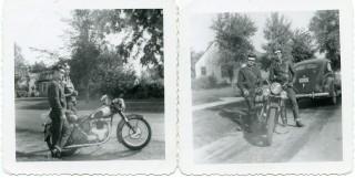 Two vintage b&w snapshots of a pair of early bikers and their motorcycle. BIKERS