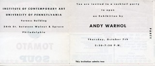 Campbell's ''Tomato Soup'' label invitation for Warhol's 1965 ICA retrospective.
