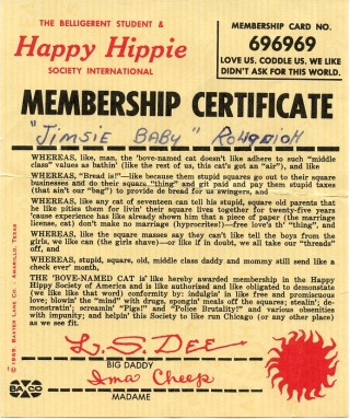 The Belligerent Student & Happy Hippie Society International Membership Certificate. HIPPIES.