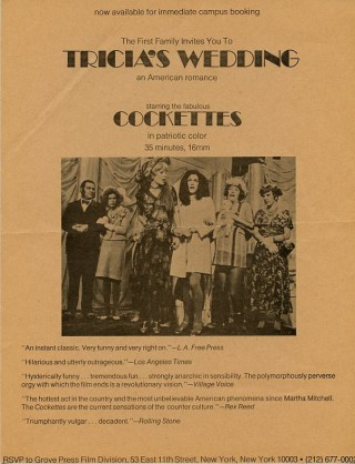 Handbill issued by Grove Press announcing the availability of The Cockettes' film Tricia's Wedding for rental.