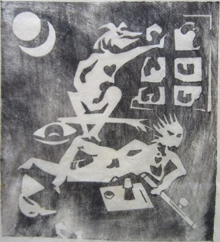 Original rice paper woodblock print of an opium smoker and a part-human figure above him. Dana YOUNG