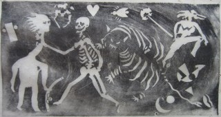 Original rice paper woodblock print of a skeleton strangling an opium smoker
