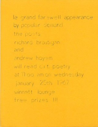 "Handbill announcing the ""Le grand farewell appearance by popular demand the poets Richard..."