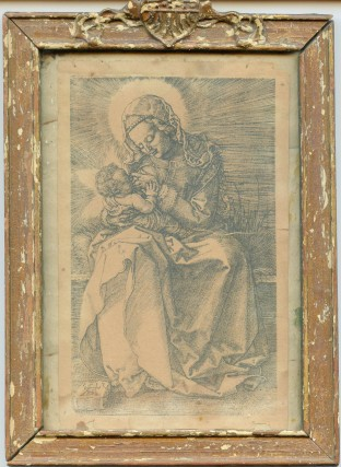Framed antique etching of the Madonna and child given by Berman to David Meltzer as a birthday gift in 1962.