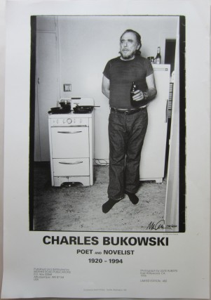Poster printing a photo of Bukowski in his East Hollywood apartment, 1976. Chalres BUKOWSKI, Ulvis ALBERTS.