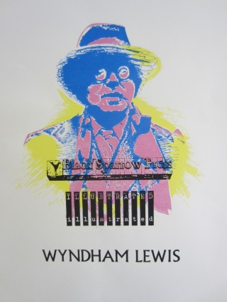Silk-screen poster printing a lovely multi-color portrait of Wyndham Lewis by Erik Zeefdruk....